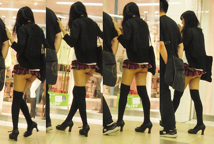 【ミニスカエロ画像】街中をわかめちゃん状態で颯爽と歩く素人女性を見てピクつく俺のSon(*ノωノ)w