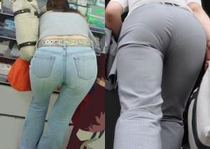 (着尻えろ写真)どちらの尻がよりエロ?パンツスーツとデニム下半身を見比べ(*´Д`)