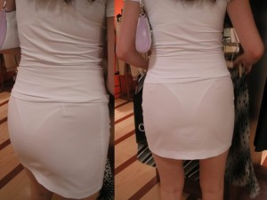 (着衣透けえろ写真)スケスケの着衣で街中を歩くシロウトの女子たち☆