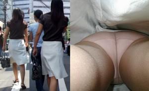 (逆さ撮りえろ写真)この角度、エロすぎる☆こんな角度からパンツ丸見え狙われた女☆
