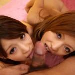 【ハーレムフェラエロ画像】女の子ふたりにチンポを舐めてもらうというハーレムフェラがエロ杉!