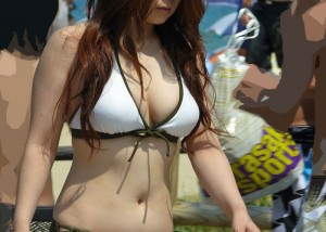 (ミズ着えろ写真)ポ少女もお願い☆悩ましいビキニ美巨乳なビーチのGAL☆(;´∀`)