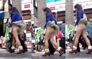 (街撮りパンツ丸見ええろ写真)街中でパンツ丸見えしているシロウト小娘見つけた→激写☆wwww