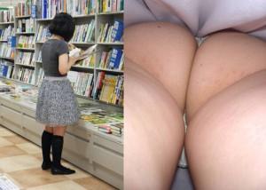 【パンチラエロ画像】ブレずにスカート内部を激写する逆さ撮り師の技術力!